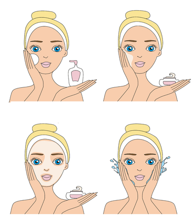 cleansing: Girl cleaning and care her face.