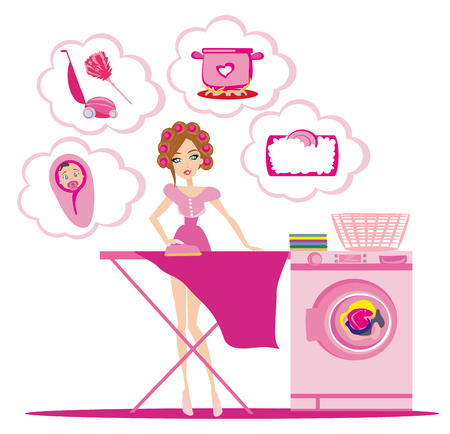 Woman irons clothes and thinks of other homework