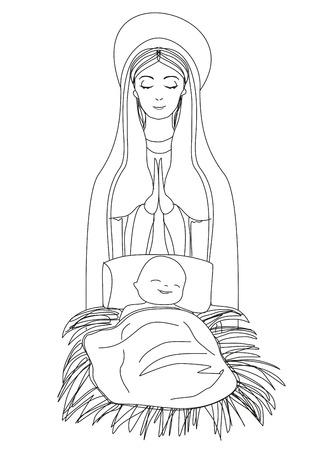마돈나와 아이 예수 일러스트