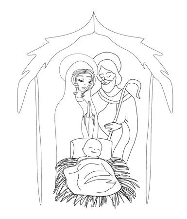 Birth of Jesus in Bethlehem 向量圖像