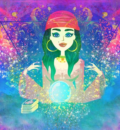 Fortune teller vrouw lezen toekomst op magische kristallen bol Stockfoto