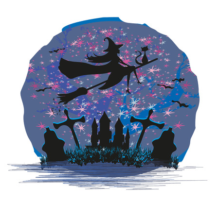 besom: Witch flying on a broom in moonlight. vector illustration.