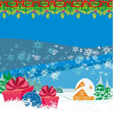 Tarjeta de Navidad con un regalo sorpresa y paisaje de invierno