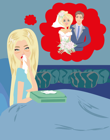 lying in bed: Girl crying, dreams of getting married.