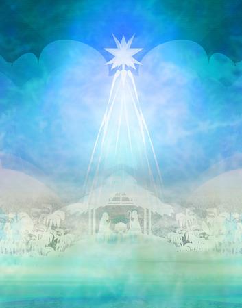 Biblical scene - birth of Jesus in Bethlehem. Banque d'images