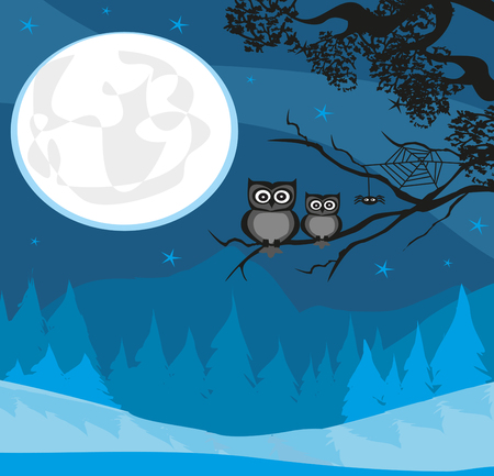 cute Halloween illustration with full Moon and owls Illustration