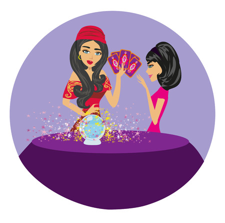 フォーチュンテラー女性は魔法のクリスタルボールに未来を読んで 写真素材 - 85822355
