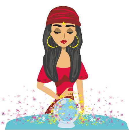 Fortune teller woman reading future on magical crystal ball Vektoros illusztráció