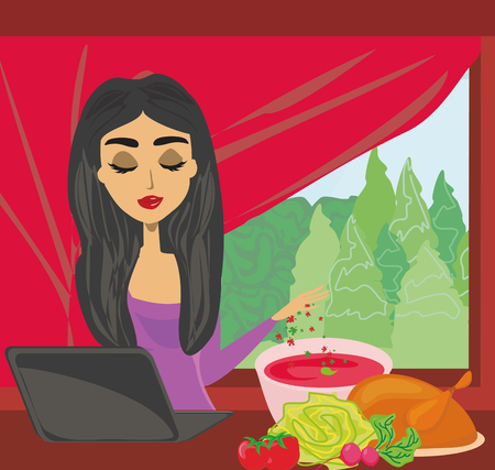 woman laptop: Woman looking in laptop while cooking icon.