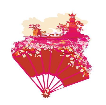 Chinese landscape and beautiful fan vector illustration