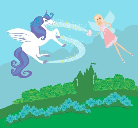 Castle, Unicorn and fairy Illustration