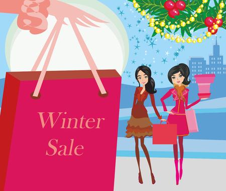 mujer en el supermercado: tarjeta de compras de invierno