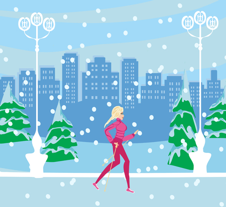 Active woman exercising in winter Illustration