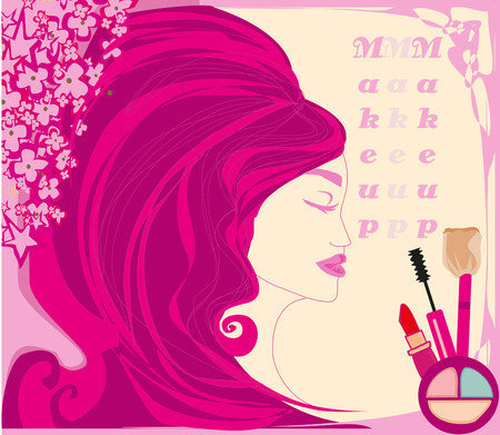 Make-up girl - abstract feminine card