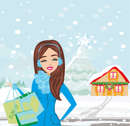 Christmas shopping - winter sale card Illustration