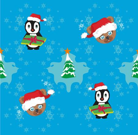 A Seamless Christmas pattern on plain background