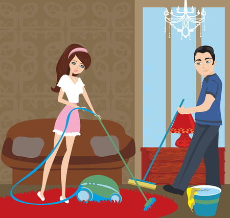 Couple cleaning at home