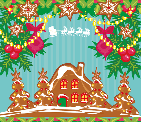 Christmas card with a ginger-bread and Santa Claus flying over city Illustration