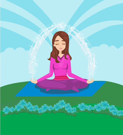 girl meditates in nature vector illustration. Illustration