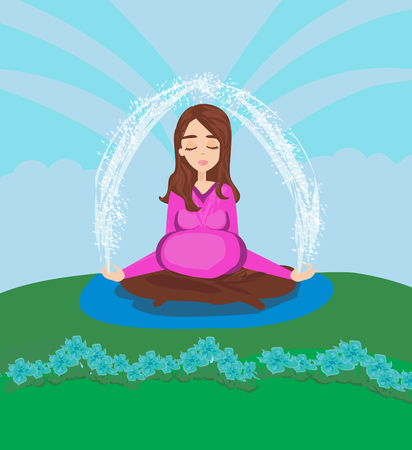 pregnant woman meditates in nature