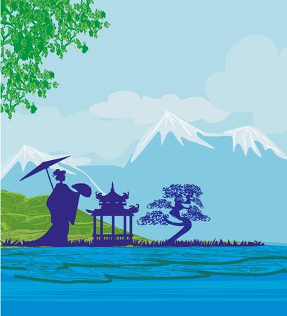 抽象的なアジアの風景と美しいアジアの女の子