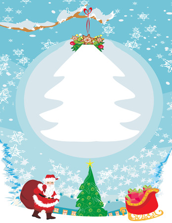 Abstract Christmas card with Santa Claus Illustration