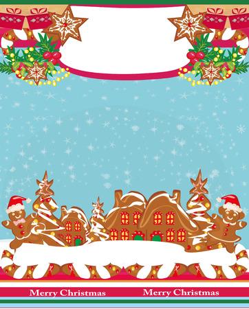 Cartão de Natal com um pão de gengibre