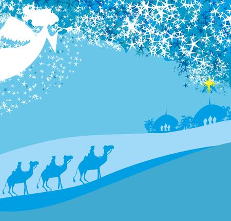 Christmas religious nativity scene Illusztráció