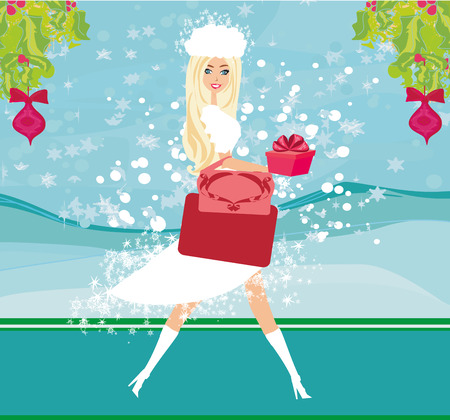 Christmas shopping - winter sale card Illustration