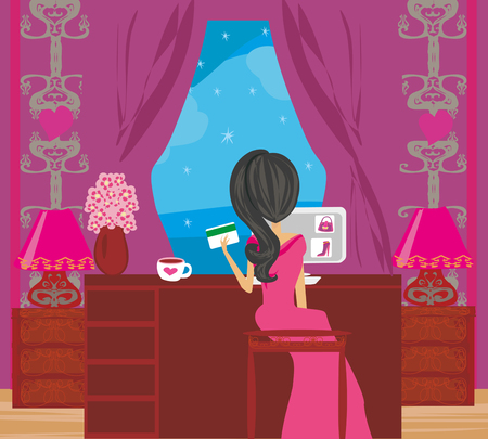 Girl with laptop shopping online vector illustration
