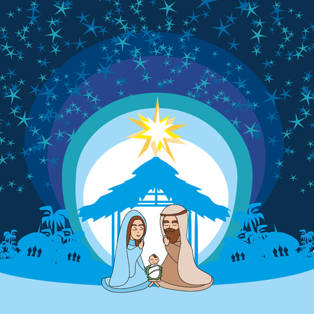 Birth of Jesus in Bethlehem vector illustration