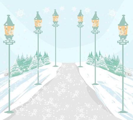 Winter landscape illustration.