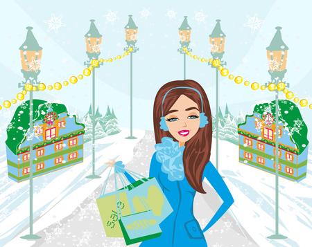 Beautiful woman doing the shopping in winter.