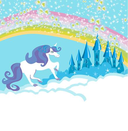 Card with a cute unicorn Illustration