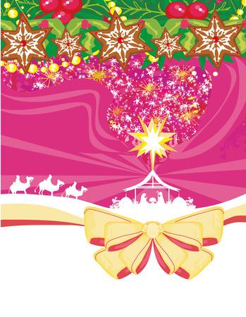 birth of Jesus in Bethlehem - decorative Christmas card