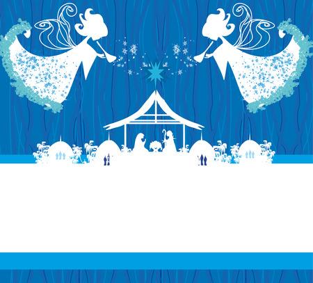 Christmas religious nativity scene Stock Illustratie
