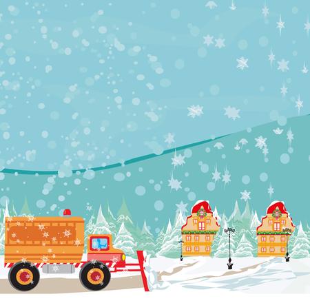 Snowblower on road in cartoon illustration.