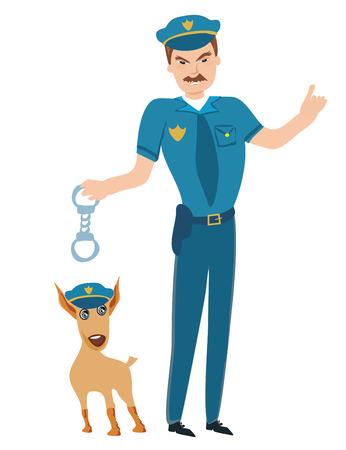 Policeman and his dog Illustration