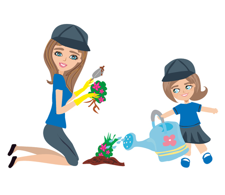 Mom and daughter plant flowers in the garden Illustration