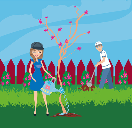 planting trees in the garden Illustration