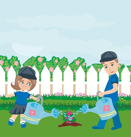 watering the tree Illustration