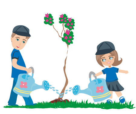 watering the tree Ilustrace