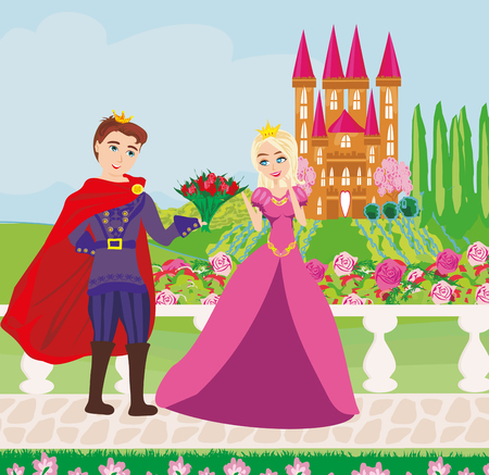 The princess and the prince in a beautiful garden