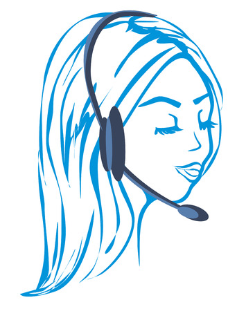 Call center female icon with headset illustration. Illustration
