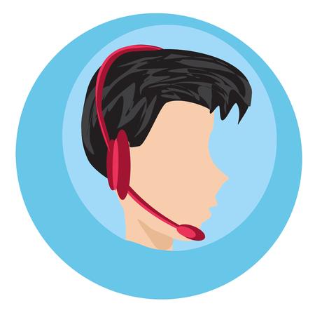 Homem do ícone do centro de chamadas com ilustração do fones de ouvido.