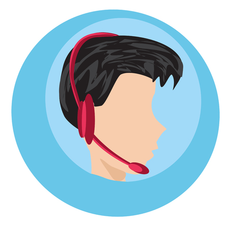 Call center icon man with headphone illustration. Vectores