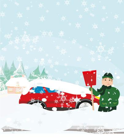 Man shoveling snow illustration.