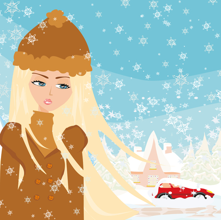 Female with car stuck in the snow. Illustration