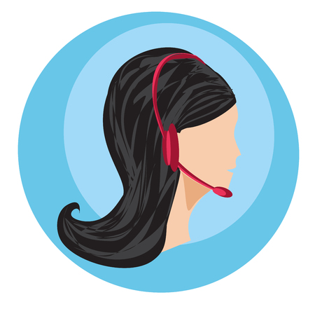 Call center female icon with headset illustration. Vectores