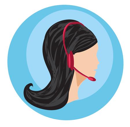 Call center female icon with headset illustration. Ilustracja